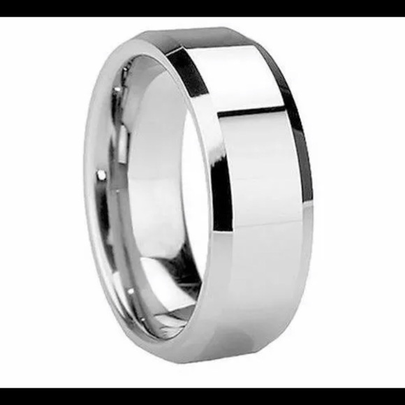 Mens silver ring wedding band various sizes